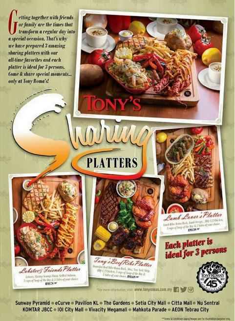 Tony's Sharing Platters with Tony's Roma This Festive Season