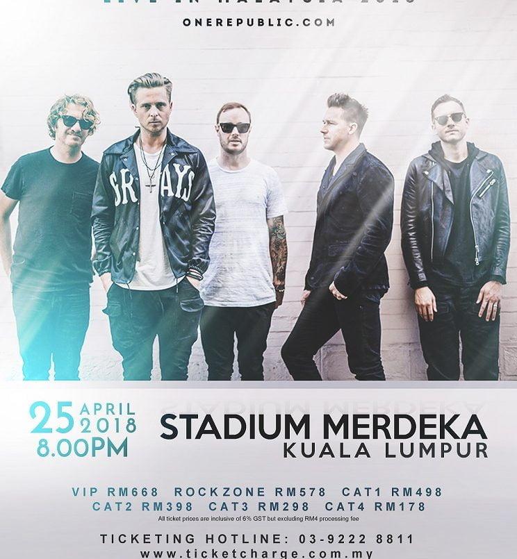Dapatkan Tiket OneRepublic Live in Kuala Lumpur 2018 Mulai 23 Februari